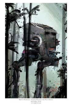 Star Wars Fallen Monument AT-ST Walker Abstract Art por j2artist
