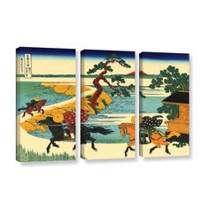 The Fields of Sekiya by the Sumida River by Katsushika Hokusai 3 Piece Painting Print on Gallery Wrapped Canvas Set