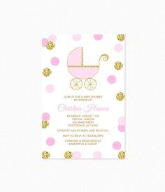 Vintage stroller baby shower invitations grey gravey babyshower pink and gold baby shower invitation stroller baby by honeyprint filmwisefo