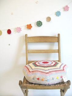 crochet cushion cover... choose your own colours - Octagon design in 100% cotton - CUSTOMISED ITEM - by Emma Lamb. £60.00, via Etsy.