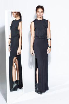 JAMIE - Black Muscle Tee Jersey Dress with Raw Edges and Slits T-Shirt Maxi (Michael Kors, Prada, Gucci, Alexander Wang, Helmut Lang, BCBG) on Etsy, $151.00