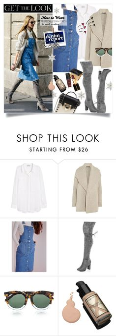"""Get the Look - Pinafore Denim Dress"" by watereverysunday ❤ liked on Polyvore featuring H&M, James Perse, Missguided, SpyLoveBuy, Karen Walker, Max Factor, Valentino, Tom Ford, winterboots and winterstyle"