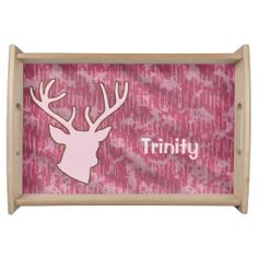 Personalized Pink Camo Buckhead Hunting Hunter Serving Platters Your friends will love this custom animal hunter product. Perfect gift for your outdoors woman, sports woman or hunting guide ! This product features a buck deer head antlers and a camo background. Great for a hunter, hunting guide, sportsman or woman, outdoorsman or deer lover.