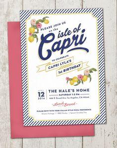 Baby Birthday, 1st Birthday Parties, Birthday Ideas, Italy Party Theme, Lemon Birthday Cakes, Italian Party, Isle Of Capri, Bridal Shower Tea, Capri Italy