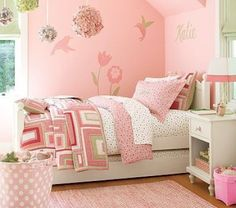 habitacion de nena en verde limón rosa y blanco