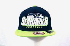 NFL NEW ERA Seahawks LOGO Flat Erim Snap w  Mesh Back Cap S M a9868f3fe