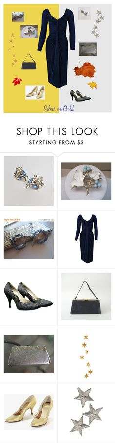 """""""Silver or Gold"""" by anna-ragland ❤ liked on Polyvore featuring Trifari, Sarah Coventry, Ceil Chapman, Handle, Livingly, vintage, vintagejewelry, vintagefashion and vintageaccessories"""