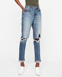 High Waisted Ripped Original Girlfriend Jeans