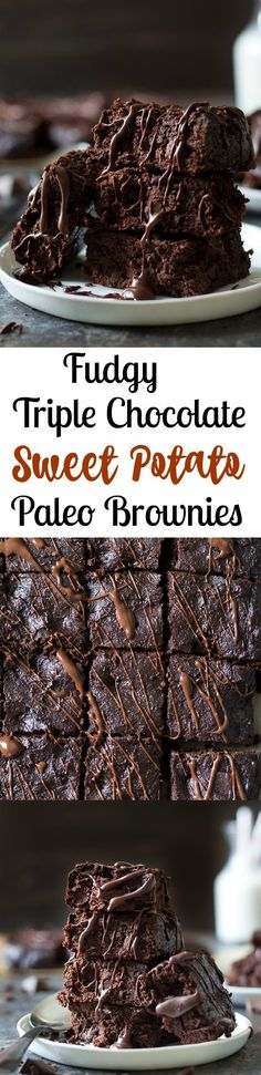 Fudgy paleo triple chocolate sweet potato brownies that you'll never believe are healthy! Flourless, gluten free, grain free, dairy free