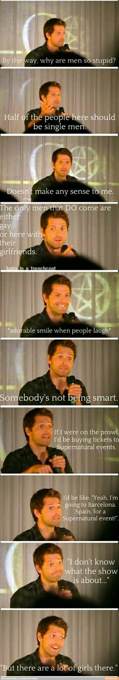 meanwhile Misha Collins at the SPN Conventions LOL oohh Misha you're so adorkable ^_^ <3 #Supernatural