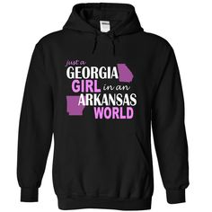 Georgia girl in Arkansas.You can choose other Hoodies Color and T-Shirt for same design.Georgia girl in Arkansas