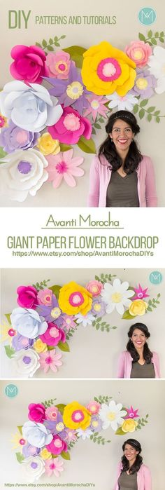 - Giant Paper Flower Backdrop (Patterns and Video Tutorials) Full - Giant Paper Flower Backdrop (Patterns and Video Tutorials) DIY Giant Paper Flower Backdrop Giant Paper Flowers, Diy Flowers, Fabric Flowers, Flower Paper, Origami Flowers, Unique Flowers, Diy Paper, Paper Crafts, Diy Crafts