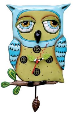 This whimsical pendulum clock is named `Old Blue Owl` and is by Allen Designs. Made of cast resin, this wise old owl has a pendulum pine cone that swings back and forth with the seconds. The clock is Owl Clock, Clock Art, Wall Clocks, Cuckoo Clocks, Owl Kitchen, Kitchen Clocks, Kitchen Decor, Kitchen Island, Catching Fireflies