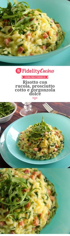 Risotto con rucola, prosciutto cotto e gorgonzola dolce - 1452 Couscous, Paella, Food And Drink, Gnocchi, Cooking, Recipes, Side Dishes, Dinner, Kitty