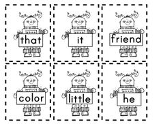 Free - Robot Sight Word Cards. So cute.