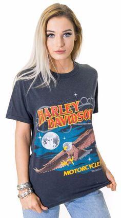 7824ff65223 1988 Harley Davidson Motorcycles Faded Retro Black Iconic Vintage T-Shirt