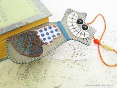Felt Crazy Cat Bookmark Polka Dot Cat Denim by elrinconcitodezivi