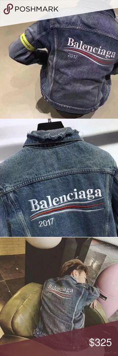 Balenciaga Denim jacket Balenciaga Denim jacket. All sizes available. Thanks for shopping! Balenciaga Jackets & Coats Lightweight & Shirt Jackets