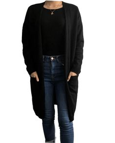 Damen Kaschmir Long Strickjacke Cardigan schwarz