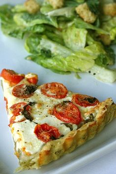 """Tomato mozzarella tart with a basil garlic crust"". you had me at ""Tomato mozzarella"", but basil garlic crust? Think Food, I Love Food, Good Food, Yummy Food, Tart Recipes, Cooking Recipes, Garlic Recipes, Quiche Recipes, Freezer Cooking"