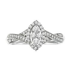 Cambridge Sterling Silver 3/8 TDW Marquise Twisted Shank Diamond Ring (I-J, I2-I3)