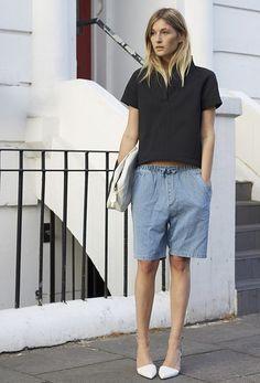 simplicity in denim shorts