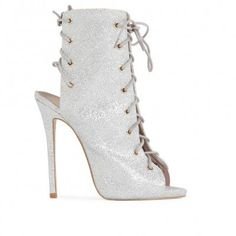 Melina Stiletto Ankle Boots in Silver Glitter