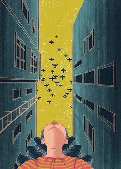 Quando o céu é amarelo e os prédios são azuis; Quando se olha para cima mas é vista de baixo; Quando os pássaros voam;