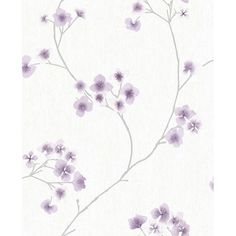 Radiance Wallpaper in White and Lavender from the Innocence Collection... ($50) ❤ liked on Polyvore featuring home, home decor, wallpaper, wallpaper samples, floral wallpaper, flower stem, light purple wallpaper, white flower wallpaper and lavender wallpaper