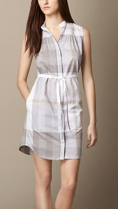 Burberry Mineral Grey Check Cotton Voile Shirt Dress - A sleeveless cotton voile shirt dress. The straight silhouette features a belted waist and a button-through front and is collarless. Discover the women's dress collection at Burberry.com