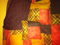 Turning twenty fall quilt with throw pillows