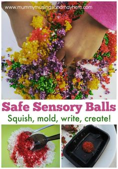 Make your own sensory rainbow balls for play - safe for babies and toddlers! Mummy Musings and Mayhem