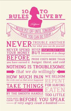 Hot Pink/Cream Thomas Jefferson's 10 Rules to Live By Motivational Poster. $45.00, via Etsy.