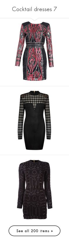 """""""Cocktail dresses 7"""" by joanna-tabakou ❤ liked on Polyvore featuring dresses, sequin embellished dress, longsleeve dress, sequin dress, long sleeve sequin dress, long sleeve dress, balmain dresses, semi sheer dress, balmain and padded shoulder dress"""