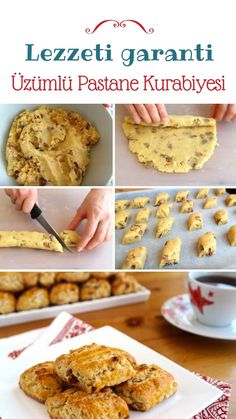 Making Raisin Patisserie Cookies (video and detailed explanation … – Healthy Food No Bake Desserts, Healthy Desserts, Dessert Recipes, How To Make Cookies, Food To Make, How To Make Raisins, Sweet Sauce, How To Cook Shrimp, Turkish Recipes