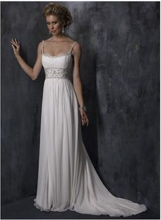 Wholesale Cheap Graceful Spaghetti Straps Sheath / Column Beads Working Empire Chiffon Satin Chapel Train Wedding Dress