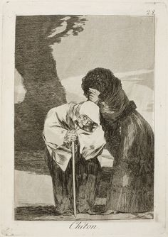 "Francisco de Goya: ""Chiton"". Serie ""Los caprichos"" [28]. Etching, aquatint and burin on paper, 215 x 151 mm, 1797-99. Museo Nacional del Prado, Madrid, Spain"