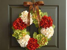 fall wreaths hydrangea front door wreath wall decorations ivory green brown autumn wreaths gift ideas