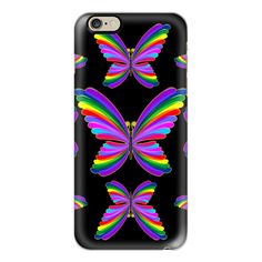 iPhone 6 Plus/6/5/5s/5c Case - Butterflies Psychedelic Rainbow ($40) ❤ liked on Polyvore featuring accessories, tech accessories, iphone case, rainbow iphone case, apple iphone cases, slim iphone case and iphone cover case