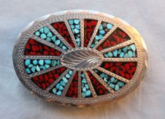 Vtg Wil Aren Turquoise Coral Inlay Hand Made Western Belt Buckle