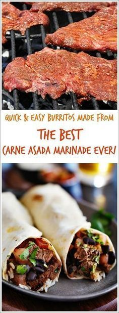 Looking for an easy carne asada burrito or taco recipe? Try the Best Carne Asada Recipe Ever! This carne asada marinade recipe is so easy that you'll never bother with Mexican take out again. Terrific for parties or tailgating! #grilling #mexicanfood #beef #taconight #taco #burrito #marinades #tailgating #partyfood #carneasada #slowcooker #crockpot #steak