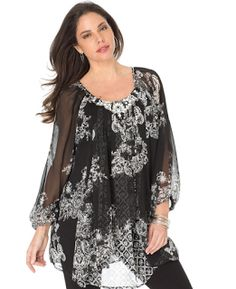 Fashion Bug Women's Plus Size Embellished Print Tunic www. Stylish Plus Size Clothing, Plus Size Fashion, Plus Size Dresses, Plus Size Outfits, Moda Formal, Big And Tall Outfits, Plus Size T Shirts, Mens Big And Tall, Fashion Today