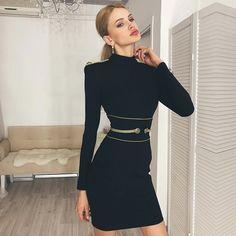 8e304224d10 Adyce 2018 Новое Осеннее женское Бандажное платье сексуальное с длинным  рукавом черное мини-Клубное платье Vestidos элегантное знаменитое вечернее  платье