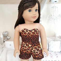 American girl doll Leopard shorts and bustier by SewCuteForever