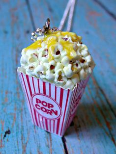 Popcorn Necklace Miniature Food Jewelry with Melted Butter Circus or Fair Jewelry