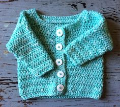 Crochet Baby Girl Simple Baby Cardigan - Sara Kay Hartmann - A fast and simple free baby sweater pattern to crochet for the darling babies in your life! Crochet Baby Cardigan Free Pattern, Cardigan Bebe, Crochet Baby Sweaters, Baby Sweater Patterns, Crochet Cardigan Pattern, Crochet Baby Clothes, Baby Patterns, Baby Knitting, Free Crochet