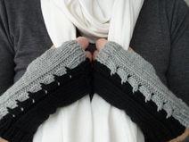 Stulpen, Handstulpen, grau schwarz, Größe M