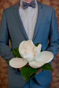 There's just no way I can resist this single magnolia flower wedding bouquet. Image by Brandon Chesbro Magnolia Bouquet, Magnolia Wedding, Magnolia Flower, Floral Wedding, Wedding Flowers, Bouquet Wedding, Wedding Fotos, Boho Vintage, Nashville Wedding