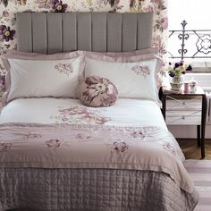 Peony Blossom Embroidered Cotton Bedlinen