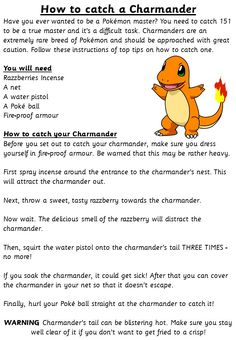 How to Catch a Charmander - Talk for Writing Talk 4 Writing, Writing Ideas, Writing Prompts, Year 6, Charmander, Teaching Ideas, Literacy, Gate, Classroom